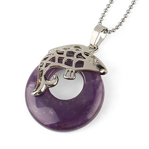 YOUHU Crystal Holder Necklace,7 Chakra Crystal Necklaces Hollow Fish Shaped Clip Natural Tiger Eye Gem Donut Pendant Stylish Spiritual Jewelry Anniversary Unisex Gift,Amethyst