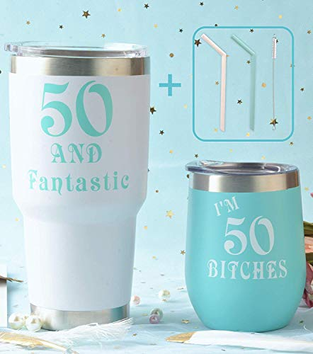 50th Birthday Gifts for Women, 50 and Fabulous Tumbler, 50 and Fabulous Tumbler for Women, 50th Birthday Tumbler Set, 50th Birthday Presents for Friends, Sister, Her, 50th Birthday Gifts Idea