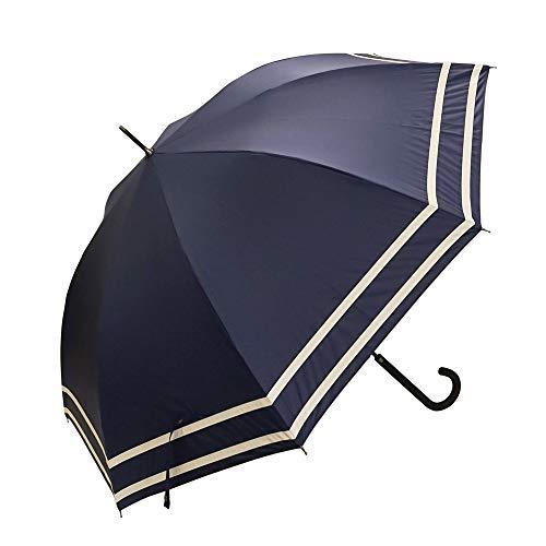 [マコッカ] 【2021年度版】 完全遮光 UVカット 99.9%以上 超撥水 耐風骨 日傘 雨傘 晴雨兼用 ジャンプ傘 60cm makez. マケズ 2本ライン ネイビー