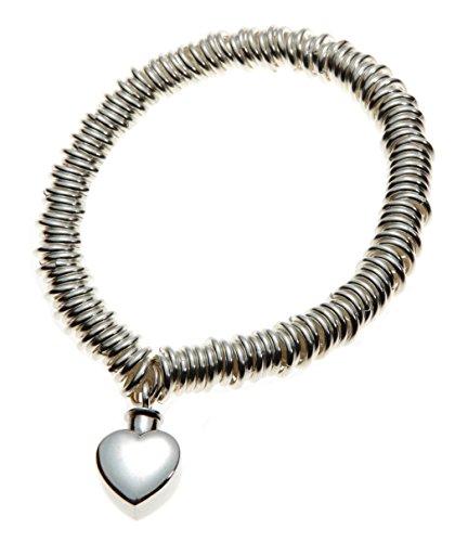 Urns Britse Mayfair sieraden crematie as armband met hart bedel, sterling zilver