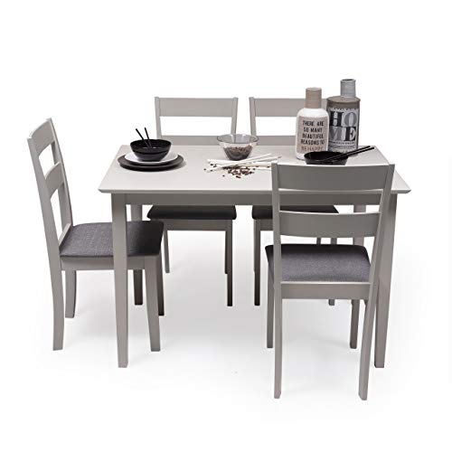 Conjunto de Comedor Kansas & Dallas Gray Mesa de Comedor de Madera lacada en Gris de 112x72 cm y 4 sillas de Comedor de Madera lacadas en Gris y Asiento tapizado de Tela Gris Oscuro