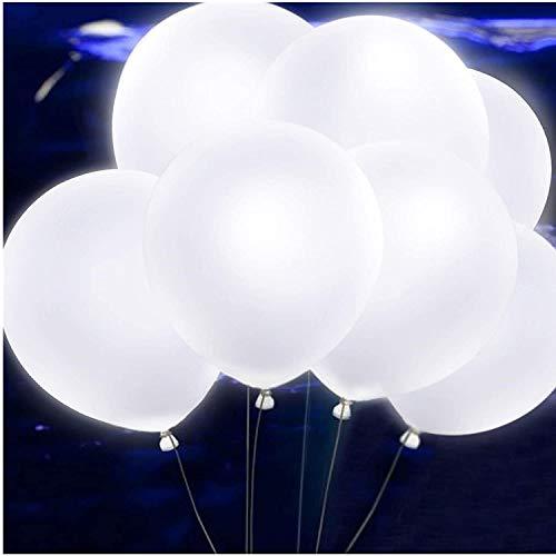 40 Pieces leutende Luftballons mit LED Licht Hochzeit Deko - über 24 Stunden Leuchtdauer für Hochzeiten Partys Geburtstage (Weiß)