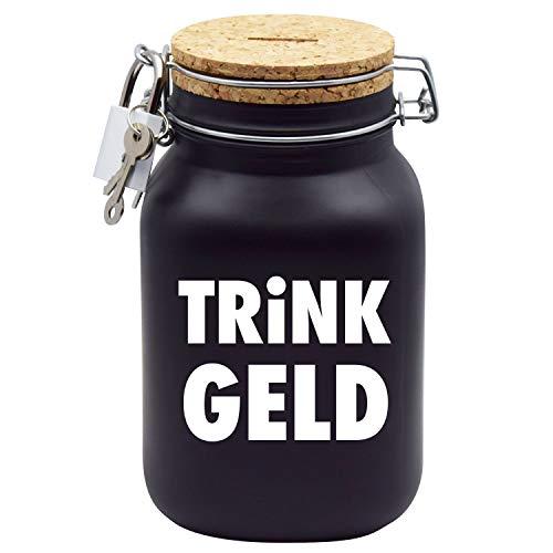 Spardose Trinkgeldkasse Kaffeekasse Trinkgeld Geld-Geschenk-Idee in Schwarzem Glas XL