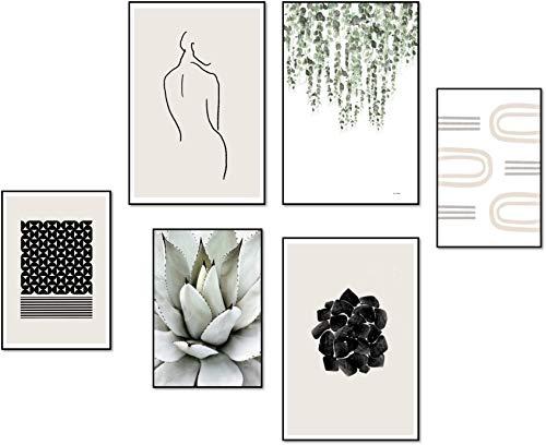 ELAFI® Premium Poster Set groß | Bilder für Wohnzimmer Deko | Posterset 6er 3X DINA3