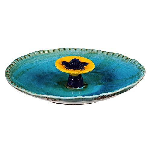 Evergreen Garden Turquoise with Yellow Flower Ceramic Bee Bath