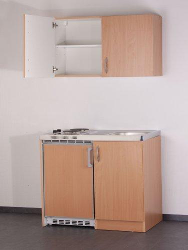 MEBASA MEBAKB100OS Küchenblock, Pantryküche Buche 100 cm, Duo-Kochfeld, Unterbaukühlschrank dekorfähig und Oberschrank