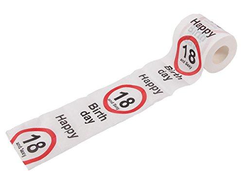 Alsino Divertente Rotolo di Carta Igienica per Compleanno di 18 Anni | 33/0020 | Scritta Inglese Happy Birthday | Decorazione | Scherzetto
