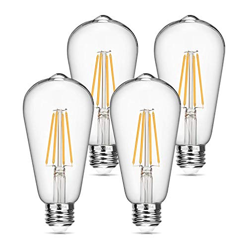 Boncoo Vintage LED Edison Bulb 6W Dimmable LED Filament Bulb 60W Equivalent 3000K Soft White 620LM E26 Base ST64 Antique Light Bulbs Decorative Clear Glass for Home, Reading Room, Bathroom, 4 Pack