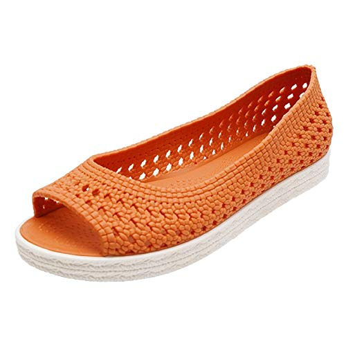 ZYAPCNGN Summer Sandals Women Open Toe Hollow Out Casual Slip-On Shoes Flat Beach Breathable Sneakers Wedge Sandals Orange