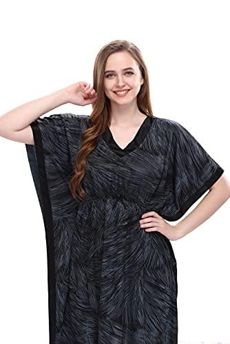 Style Dunes Women's Satin Kaftan - Maxi Nighty Night Gown - Short Stylish Kimono (Grey, Free Size)