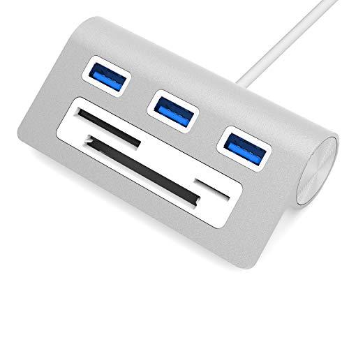 """Sabrent Concentrador de USB 3.0 Premium con 3 puertos de aluminio con con lector multitarjetas (cable de 12"""") para iMac, MacBook, MacBook Pro, MacBook Air, Mac Mini o PC (HB-MACR)"""