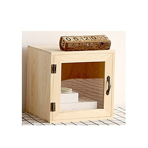 FXJ Organizador de Escritorio Creativo de Madera, Caja de Almacenamiento Multifuncional de Mesa 23x20x23cm (Color : Wood Color-A, tamaño : 23X20X23cm)