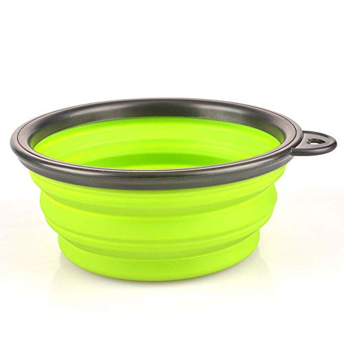 WPCBAA Silicone Voyage Dog Bowl Bols Pliable Premium Quality Food Water Pet Voyage (Couleur : Vert)