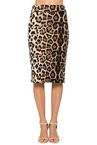 Junky Closet Women's Comfort Stretch Pencil Midi Skirt (1XL, 2936GRAP Animal)