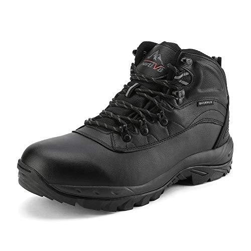 NORTIV 8 Herren wasserdichte Wanderstiefel Winterstiefel Outdoor-Schuhe Backpacking Trekking Trails Wanderschuhe Schwarz 170411 Größe 46 EU