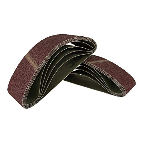 25 Stück Gewebe-Schleifbänder gemischt 75 x 457 mm, für Bandschleifer - 5 Körnungen jeweils 5 x K40/60/80/120/180 / Schleifpapier/Schleif-Mix/Schleifbänder