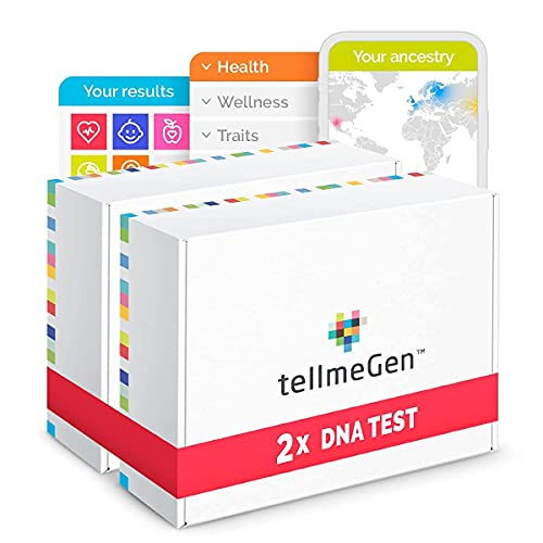 Pack DNA Duo tellmeGen: 2 Kits for Ancestry DNA Test Kit + Health Study + Personal Traits + Wellness - Genetic Testing for Parents or DNA Compatibility Test for Couples| +410 Reports
