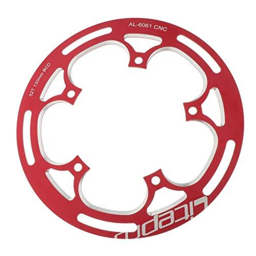 T TOOYFUL Premium 130 mm BCD plato de cadena individual 52T / 53T aluminio de alta resistencia, duradero, color rojo
