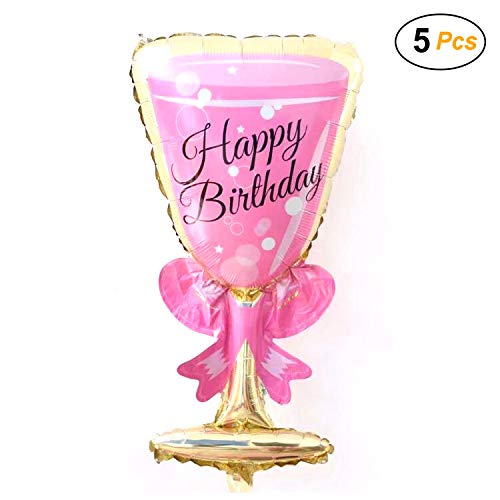 Simple polymer 36' Happy Birthday Wine Glasses Balloons Foil Balloons Mylar Balloons for Party Decoration, Pack of 5