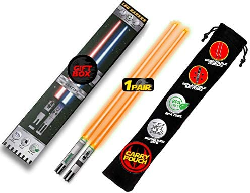 LIGHTSABER CHOPSTICKS LIGHT UP STAR WARS LED Glowing Light Saber Chop Sticks REUSABLE Sushi product image