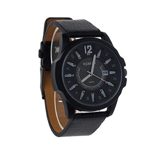 Bocideal(TM) Reloj de pulsera para hombre, analógico, de cuarzo, oxidado, correa de goma, caja negra + esfera negra.