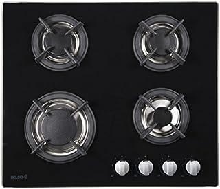BELDEKO Plaque de cuisson gaz 4 feux verre noir - Grille fonte, brûleur gaz naturel/propane, arrêt automatique
