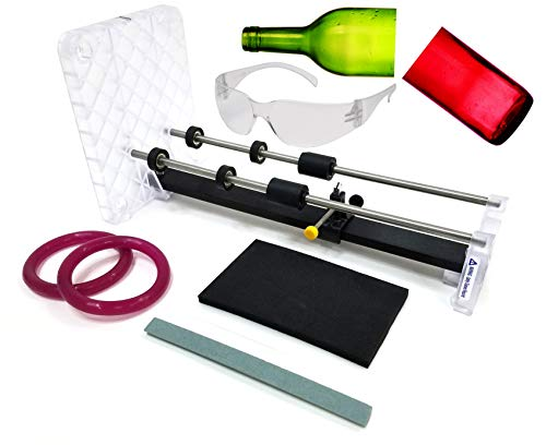 Creator's Glass Bottle Cutter DIY Machine Kit - Home Entertainment System - Made In The USA - Highest Quality Parts - Includes Carbide Cutter, Ruler, Ball Bearing Rollers, Safety Glasses - Craft Beer/Liquor/Wine Bottles