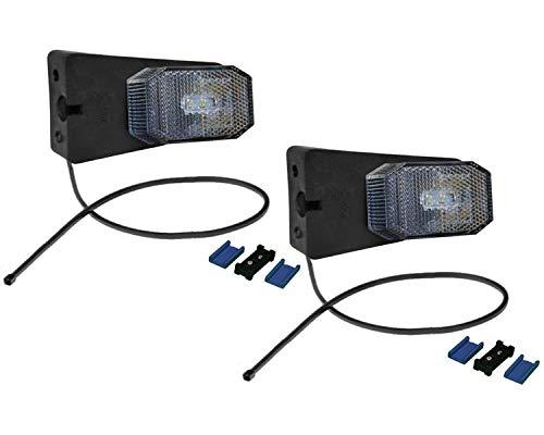 FKAnhängerteile 2 x Aspöck Flexipoint 1 LED weiß m. Halter + 0,5m Kabel + DC-Verbinder - 31-6369-007