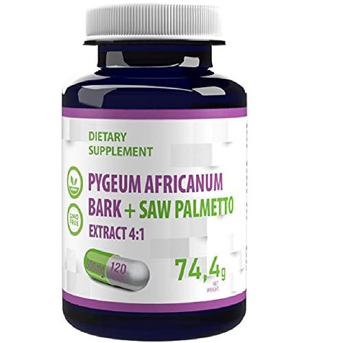 Pygeum Africanum Bark + Sågpalmetto 500mg 120 Veganska kapslar, extrakt 4:1, Hög styrka, Gluten, GMO-fri