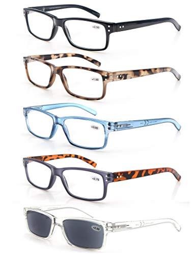 MODFANS (5 Pack) Lesebrille 1.75 Herren/Damen,Gute Brillen,Hochwertig,Komfortabel,Super Lesehilfe,fur Manner und Frauen