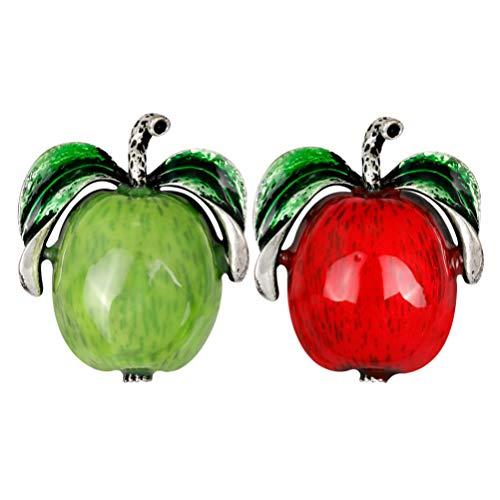 Happyyami 2 Piezas Broche de Aleación de Pin en Forma de Manzana Ropa de Prenda Insignia Insignia Broche Suéter Broche Clip Bisutería para Bolsos Chaquetas Sombrero DIY (Rojo Verde)
