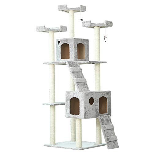 Torre de árbol de Gato Torre de los Gatos Gatos y Animales del árbol del gato de lujo tiene apartamentos dobles, gato Torre Muebles for gatitos Cat Rasguing Post ( Color : Gray , Size : 50X55X186CM )