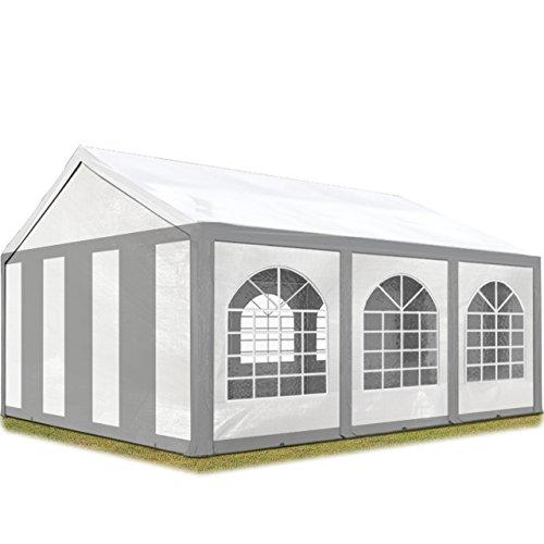 TOOLPORT Hochwertiges Partyzelt 3x6 m Pavillon Zelt ca. 240g/m² PE Plane Gartenzelt Festzelt Bierzelt Wasserdicht grau-weiß
