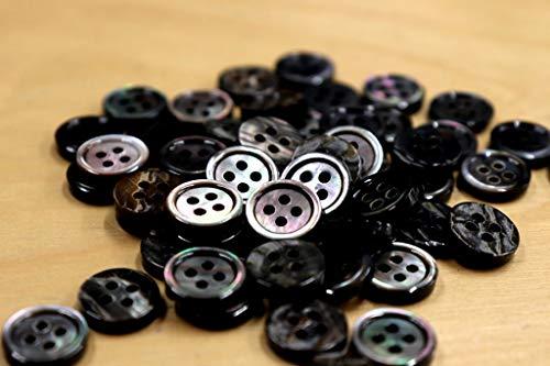 【肉厚高級】17型黒蝶貝ボタン 11.5mm[30個セット]厚み2.5mm 天然貝シャツボタン スーツボタン専門店のこだわりボタン(黒厚11.5mm30個)
