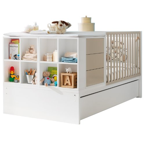 Pali Kinderbett umbaubar zum Jugendzimmer mit Juniorbett Voyager Weiß Sand