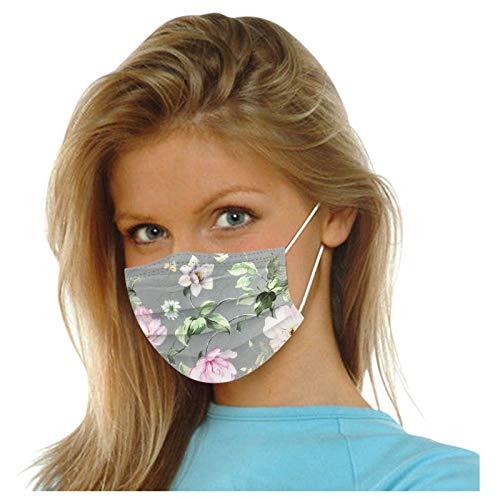 JUFANaizenem 10-50 Stück Blume Erwachsene Einwegmasken Bunt,Bedruckt Mundschutz 3-lagig Gesicht Bandana Kopftuch Staubschutz Atmungsaktiv Einmal Multifunktionstuch Halstuch