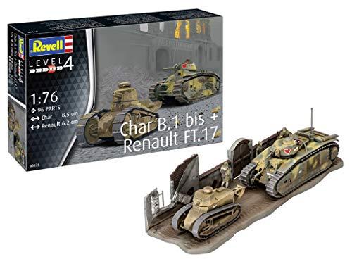 Revell 3278 1:76 Plastic Model Kit Char B.1 bis & Renault FT.17 03278, Mehrfarbig, 1/76