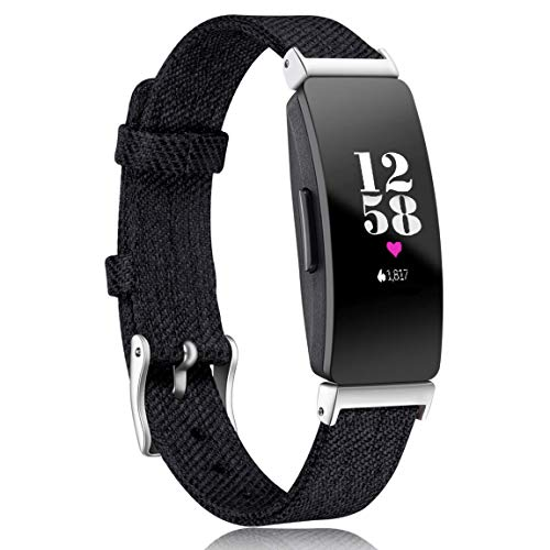 Maledan Compatible with Inspire HR/Inspire 2/ Inspire Bands Women Men, Woven Fabric Strap Wrist Band Compatible with Inspire/Inspire HR Fitness Tracker, Black, Large