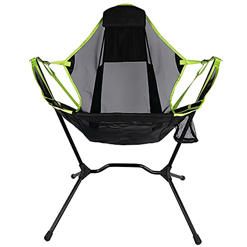 Dakaly Outdoor Freestyle Rocker Portable Folding Rocking Chair, Ultralight Folding Camping Chair with Side Organizer for Outdoor, Camp, Indoor, Patio, Fishing, Supports 350lbs (Green)