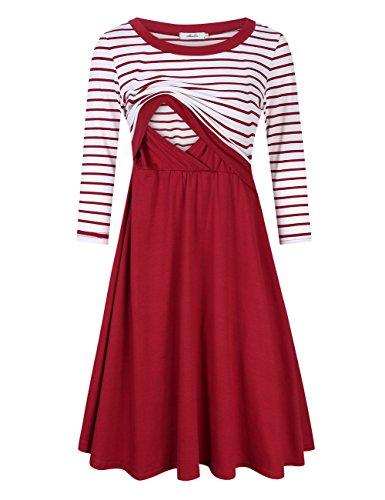 Coolmee Maternity Dress Women's Stripe 3/4 Sleeve Nursing Dress for Breastfeeding Burgundy-Long M