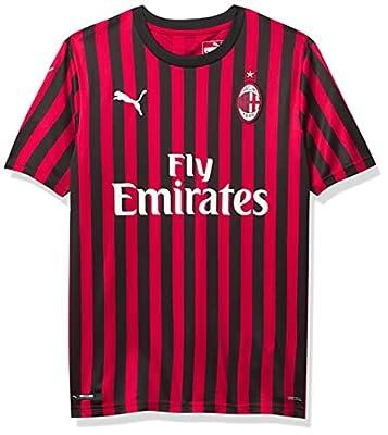 PUMA Men's Standard A.C. Milan ACM Home Shirt Replica with Sponsor Logo, Tango Red Black, 3XL