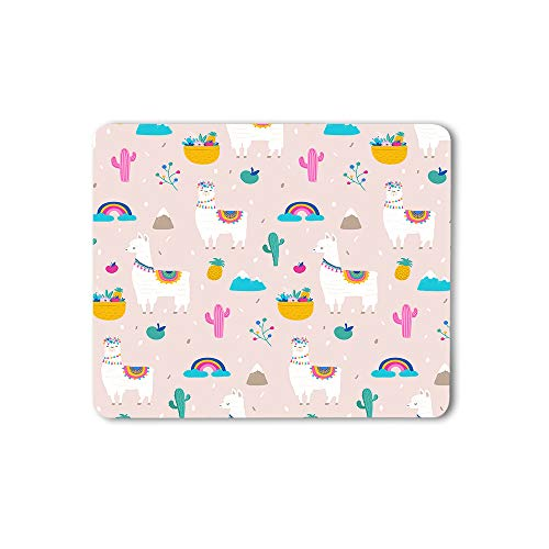 Moslion Llama Mouse Pad Alpaca Cactus Leaves Cute Colorful Tassel Pink Gaming Mouse Mat Non-Slip Rubber Base Thick Mousepad for Laptop Computer PC 9.5x7.9 Inch