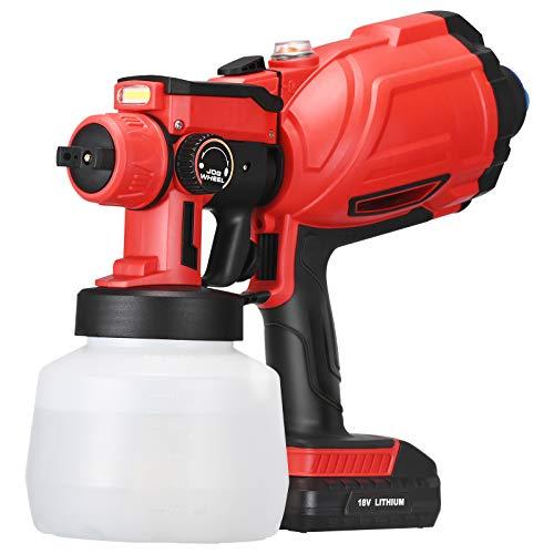 Vogvigo Elektrisches Akku-Farbspritzgerät, HVLP-Spritzpistole mit 3 Sprühmodi und LED-Beleuchtung, einstellbare Ventilknöpfe, Durchflussregelung zum Sprühen, Lackierprojekte - 1200 ml