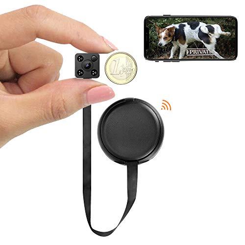 WIWACAM Mini Kamera mit App | Support in Deutschland | 1080P HD IP WLAN Kleine Kamera innen mit Handy verbinden | Akku Minikamera Überwachungskamera mit Bewegungsmelder Nachtsicht, MW9