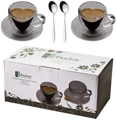 Feelino 2X 70ml doppelwandige Herzform Espresso-Tassen mit Henkel und Untersetzer + 2 Edelstahl - Espressolöffel, für Ihren ganz besonderen Espresso, 2 Herztassen mit Unterteller + 2 Löffel by