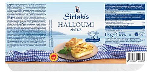 Sirtakis Halloumi Natur - 1x 1kg Vakuum - Pfannenkäse Pfanne Grillkäse Grill Ofenkäse Ofen 43% Fett in Vakuumverpackung mit Minze Schnittkäse Käse mikrobielles Lab Halal vegetarisch glutenfrei