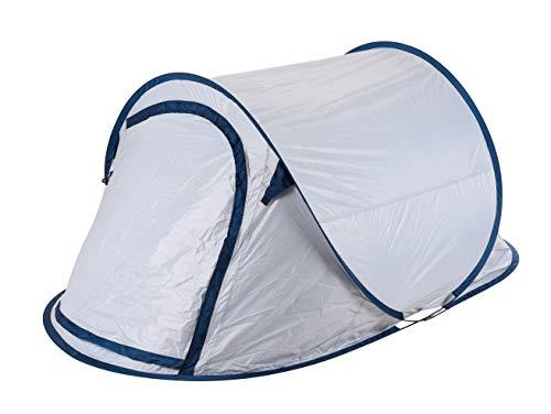 Spetebo Wurfzelt Silber grau für 2 Personen 220x120x90 cm - Cool Fresh Dark Black - Pop Up Zelt Festivalzelt Trekkingzelt Campingzelt