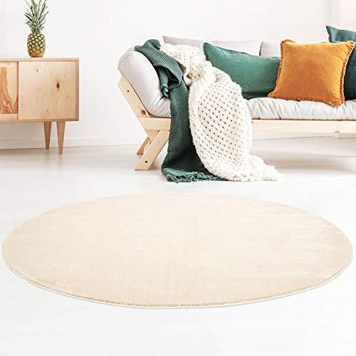 Kurzflor-Designer Uni Teppich extra weich fürs Wohnzimmer, Schlafzimmer, Esszimmer oder Kinderzimmer Gala Natur weiß 150x150 cm rund