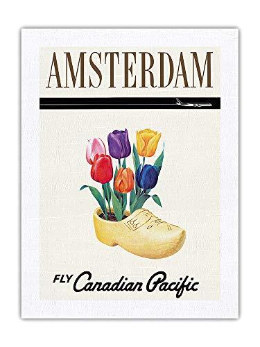 Amsterdam, Holanda - Tulipanes holandeses en un Zueco de Madera - Aerolínea Canadian Pacific - Póster Viaje Línea aérea - Impresión de Arte Seda Pura Tela 61x81cm