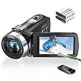 Video Camera Camcorder Digital Vlogging Camera Recorder UHD 2.7K 30FPS 30MP 3.0 Inch 270 Degree Rotation LCD 16X Digital Zoom YouTube Camera with 2 Batteries